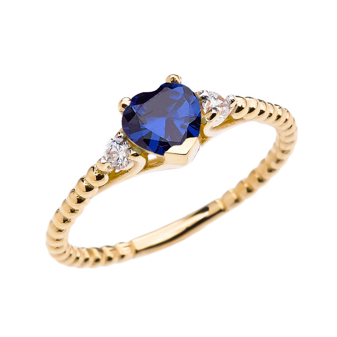 September Birthstone Blue CZ Solitaire Heart And White Topaz Yellow Gold Beaded Band Promise Ring