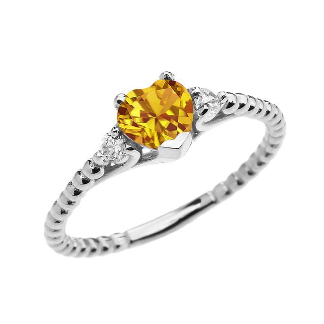 Citrine Solitaire Heart And White Topaz White Gold Beaded Band Promise Ring