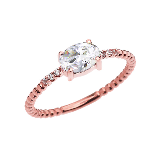 Diamond Beaded Band Ring With April Birthstone CZ Centerstone in Rose Gold