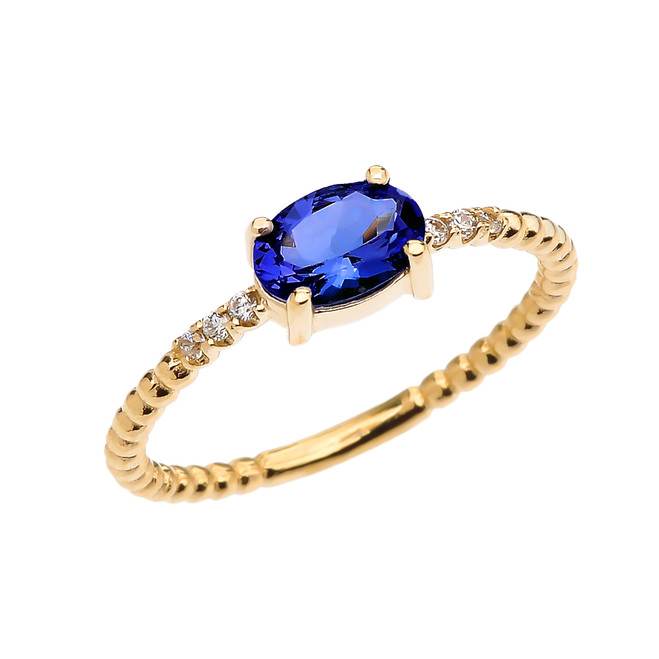 Diamond Beaded Band Ring With September Birthstone (LCS) Sapphire Centerstone in Yellow Gold