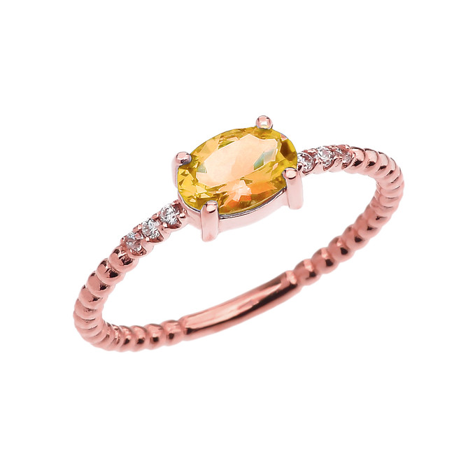 Diamond Beaded Band Ring With Citrine Centerstone in Rose Gold