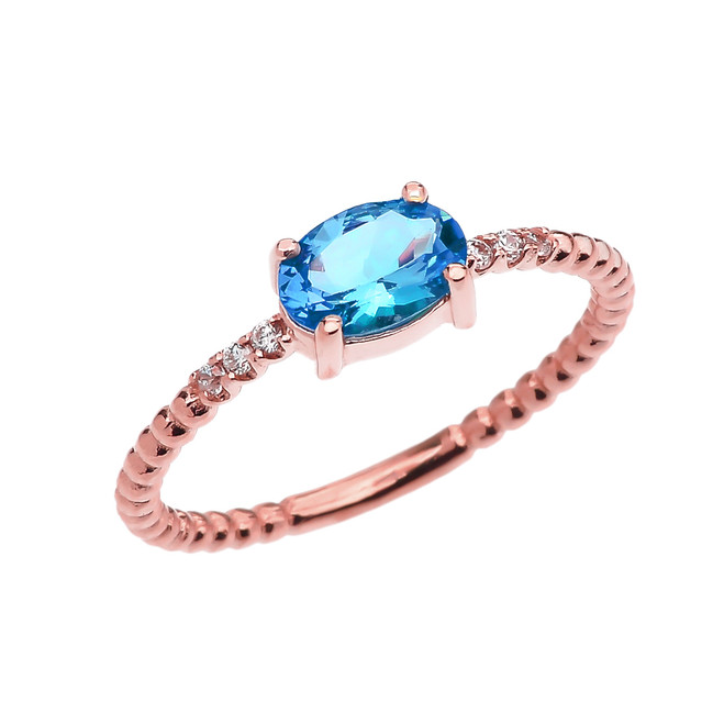 Diamond Beaded Band Ring With Blue Topaz Centerstone in Rose Gold