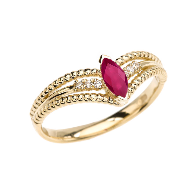 Yellow Gold Ruby and Diamond Modern Beaded Engagement Ring
