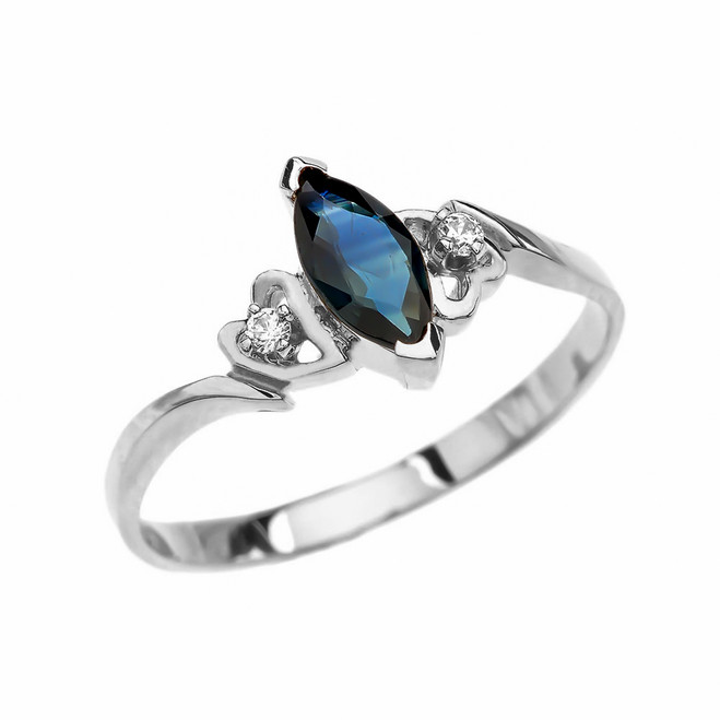 White Gold Solitaire Marquise Sapphire And Diamonds Engagement/Proposal Ring