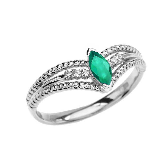 White Gold Diamond And (LCE) Emerald Modern Beaded Engagement Ring