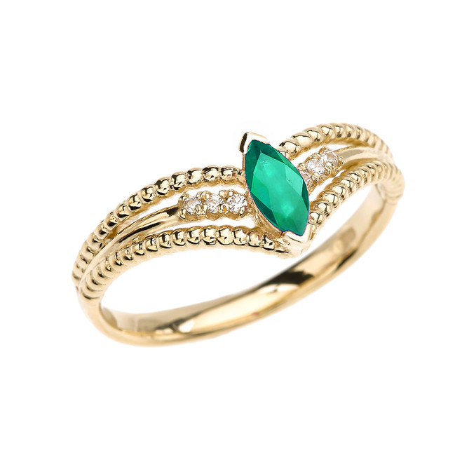Yellow Gold Diamond And (LCE) Emerald Modern Beaded Engagement Ring