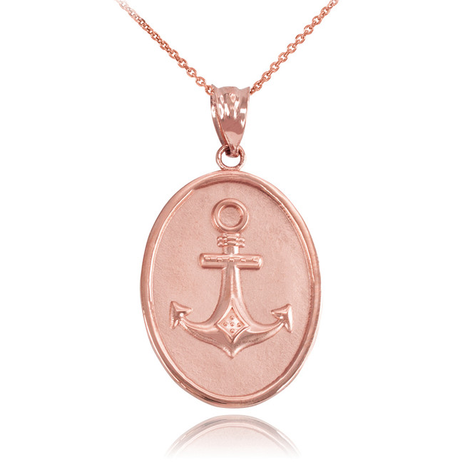 Rose Gold Anchor Pendant Necklace