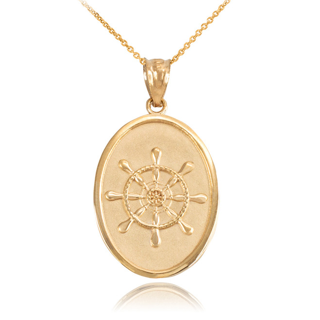 Yellow Gold Ship Wheel Pendant Necklace