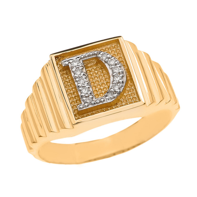 Yellow Gold Diamond Initial D Ring
