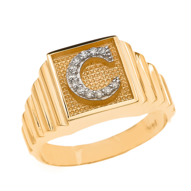 Yellow Gold Diamond Initial C Ring