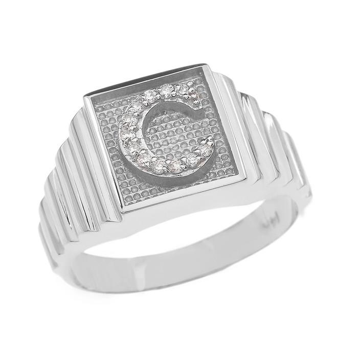 White Gold Diamond Initial C Ring