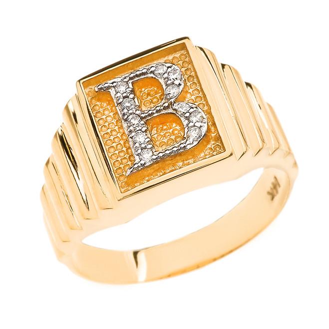 Yellow Gold Diamond Initial B Ring