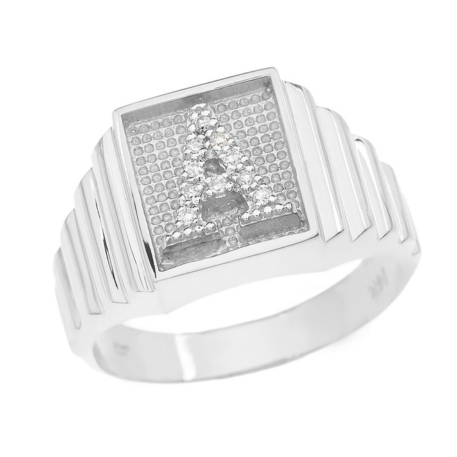 White Gold Diamond Initial A Ring