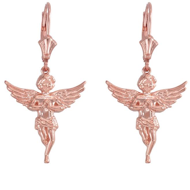 14k Rose Gold Textured Praying Angels Earrings