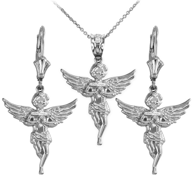 Sterling Silver Textured Praying Angel Necklace Earring Set