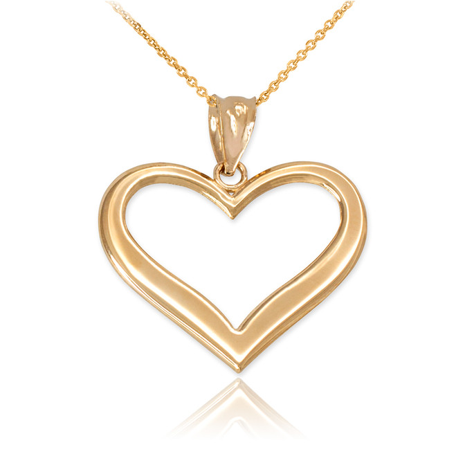 Yellow Gold Polished Open Heart Pendant Necklace