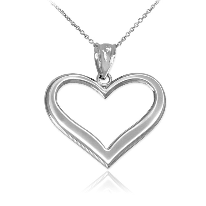 Sterling Silver Polished Open Heart Pendant Necklace