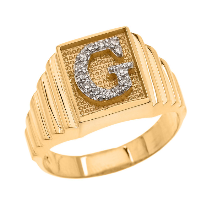 Yellow Gold Diamond Initial G Ring