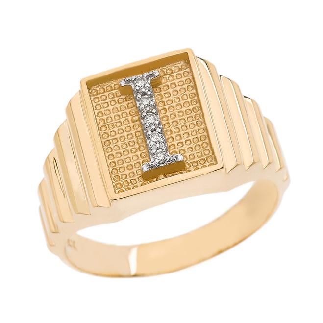 Yellow Gold Diamond Initial I Ring