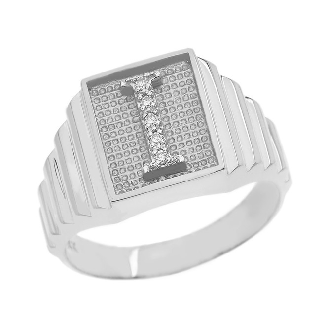Sterling Silver Diamond Initial I Ring