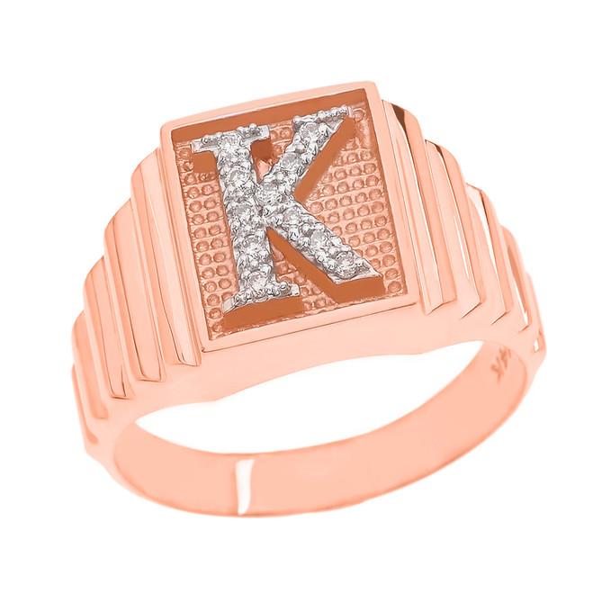 Rose Gold Diamond Initial K Ring