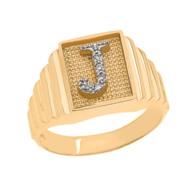 Yellow Gold Diamond Initial J  Ring