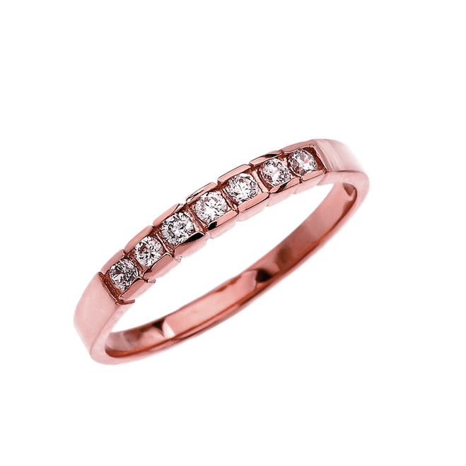 Elegant Channel Set Diamond Rose Gold Wedding Band