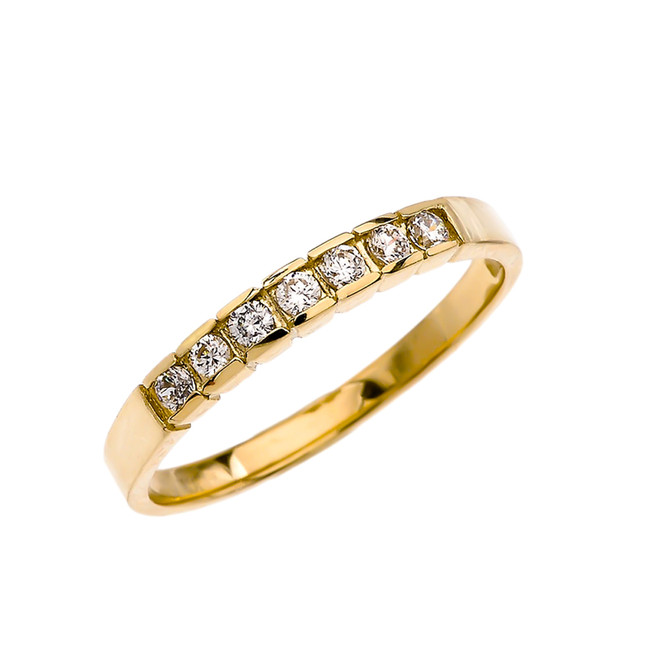 Elegant Channel Set Diamond Yellow Gold Wedding Band