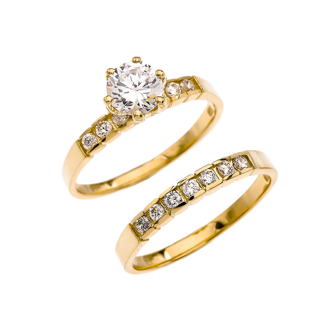 Yellow Gold Channel Set Diamond Engagement And Wedding Ring Set With 1 Carat White Topaz Center stone