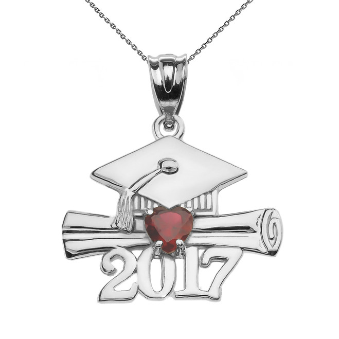 Sterling Silver Heart January Birthstone Garnet CZ Class of 2017 Graduation Pendant Necklace