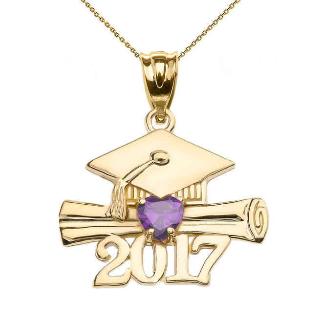 Yellow Gold Heart February Birthstone Amethyst CZ Class of 2017 Graduation Pendant Necklace