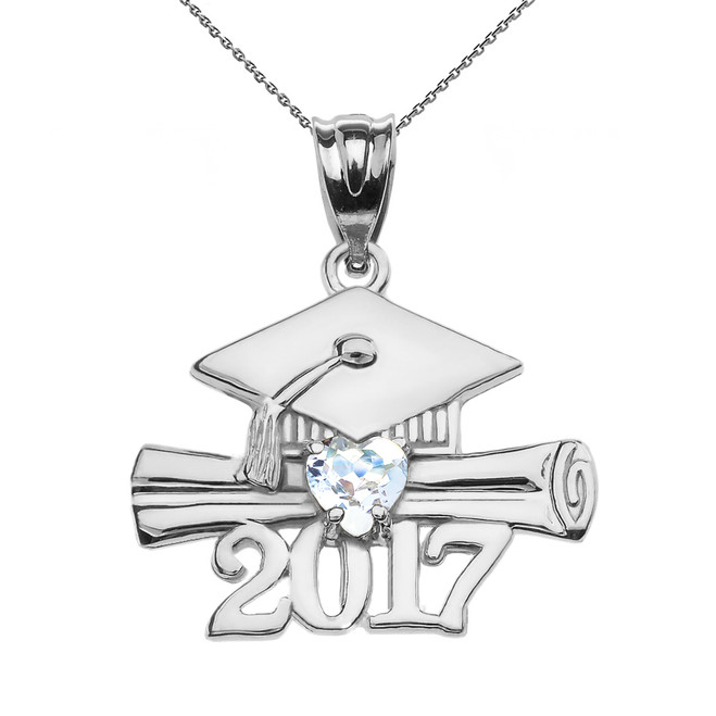 Sterling Silver Heart March Birthstone Aqua CZ Class of 2017 Graduation Pendant Necklace