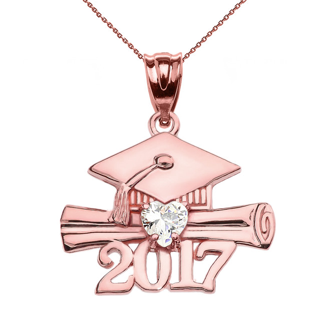 Rose Gold Heart April Birthstone White CZ Class of 2017 Graduation Pendant Necklace