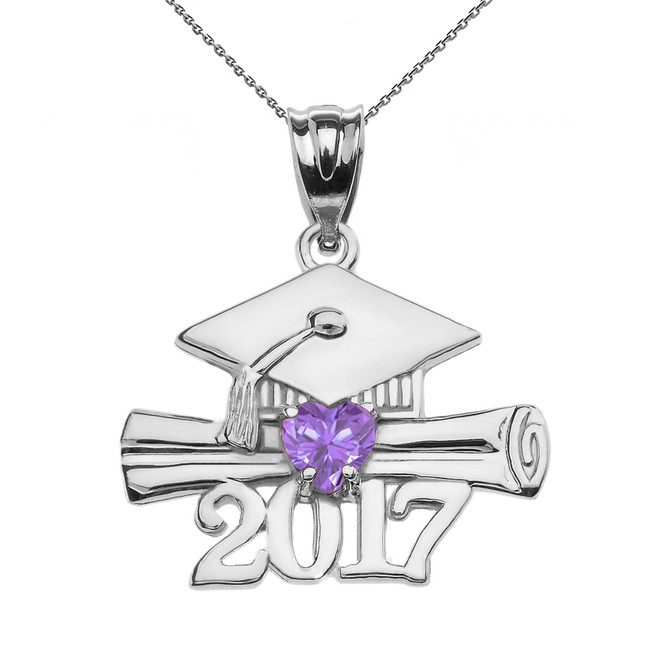 Sterling Silver Heart June Birthstone Alexandrite CZ Class of 2017 Graduation Pendant Necklace