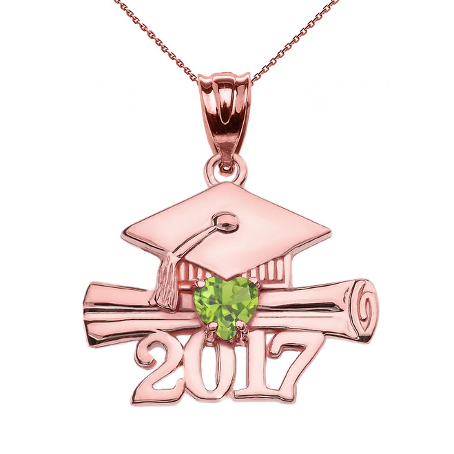 Rose Gold Heart August Birthstone Light Green CZ Class of 2017 Graduation Pendant Necklace