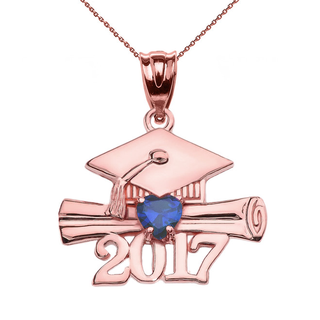 Rose Gold Heart September Birthstone Blue CZ Class of 2017 Graduation Pendant Necklace