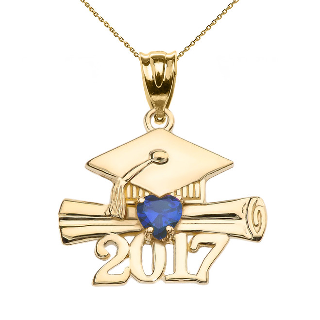 Yellow Gold Heart September Birthstone Blue CZ Class of 2017 Graduation Pendant Necklace