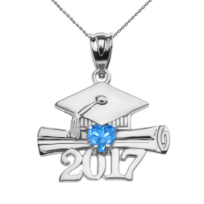Sterling Silver Heart December Birthstone Light Blue CZ Class of 2017 Graduation Pendant Necklace