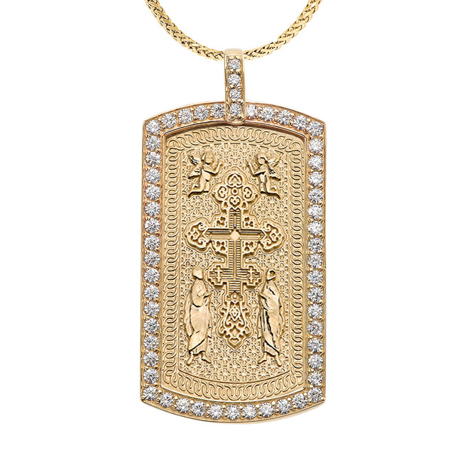Eastern Orthodox Cross Diamond Yellow Gold Dog Tag Pendant Necklace