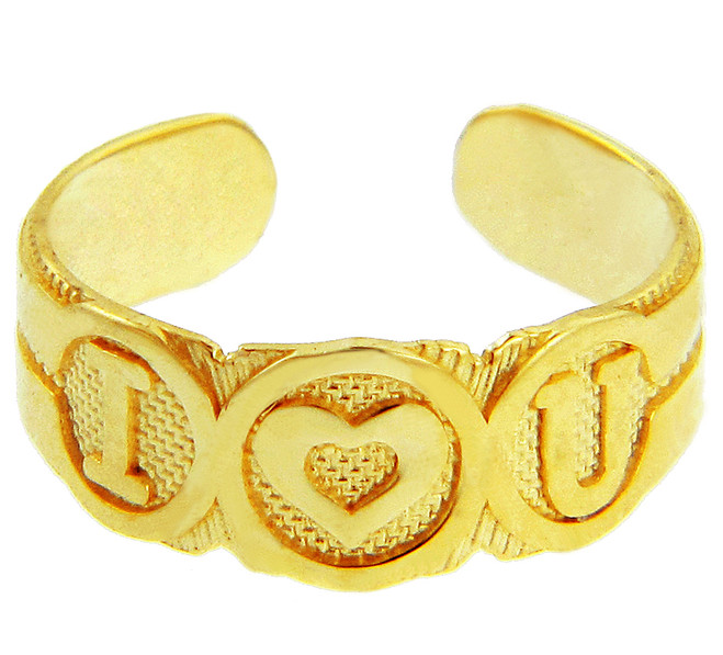 "Yellow Gold Bold ""I Heart U"" Toe Ring"