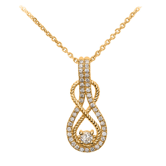 14k Rope Infinity Diamond Yellow Gold Pendant Necklace