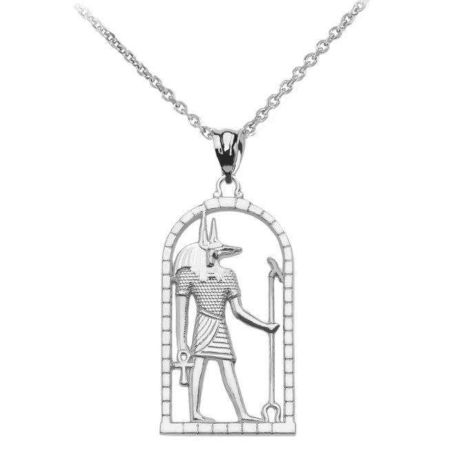 Sterling Silver Egyptian Anubis Pendant Necklace