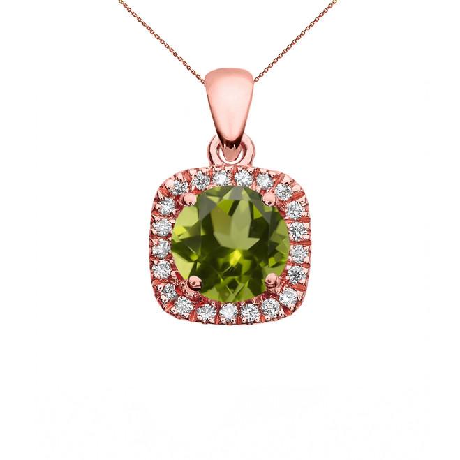 Halo Diamond and Peridot Dainty Rose Gold Pendant Necklace