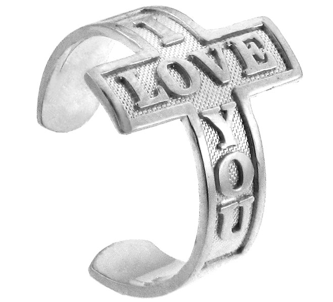 "White Gold ""I Love You"" Cross Toe Ring"