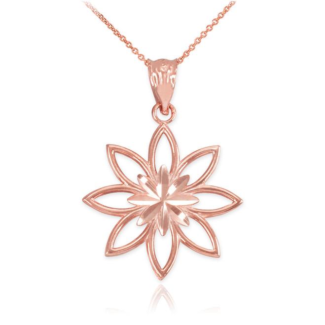 Rose Gold Polished Daisy Pendant Necklace
