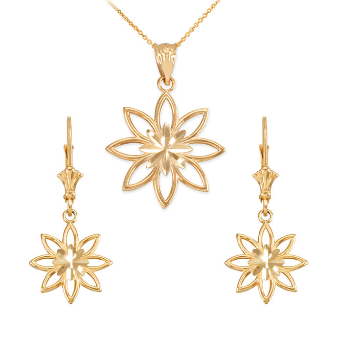 14K Yellow Gold Polished Daisy Necklace Earring Set