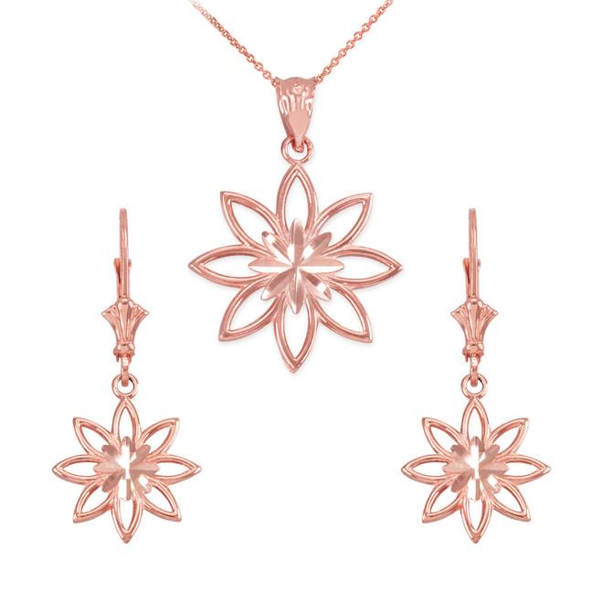14K Rose Gold Polished Daisy Necklace Earring Set