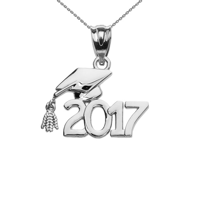 Sterling Silver Class of 2017 Graduation Cap Pendant Necklace