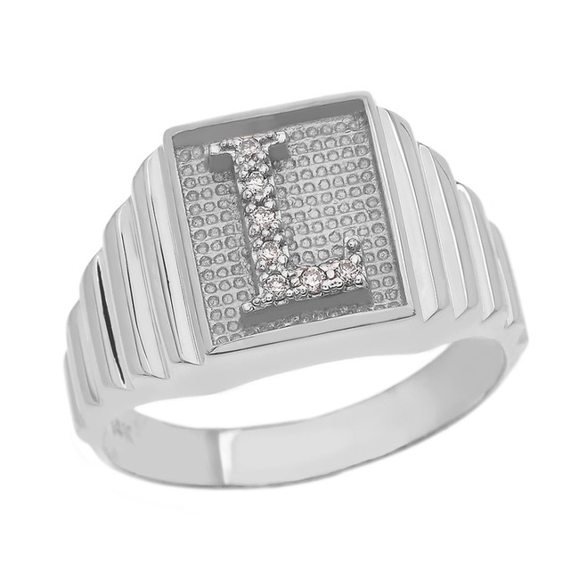 Sterling Silver Diamond Initial L  Ring