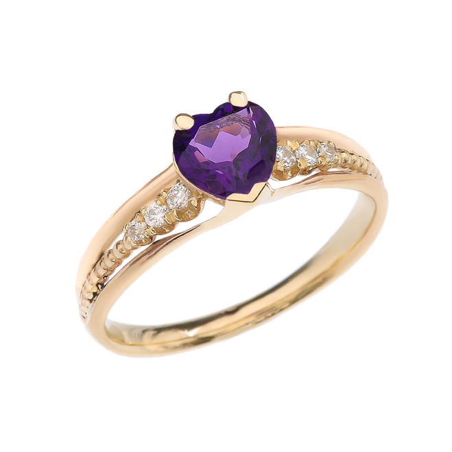 Diamond And Amethyst Heart Yellow Gold Beaded Proposal Ring